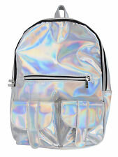 Fashion Funky Holographic Backpack w/ Front Pockets and Adjustable Straps