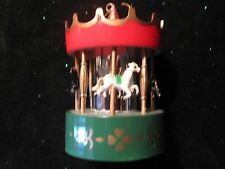 Adorable Merry Go Round Christmas Tree Ornament with Mirror Center Pole