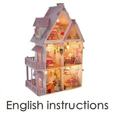 Dollhouse Miniatures Houses Kits DIY Wood Dollhouse all Furniture including