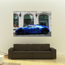 Bugatti Veyron Blue Left Side Giant Poster Super Car Print Huge 54x36 Inches