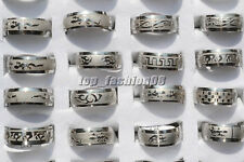 FREE Wholesale Lots 20pc Mixed Pattern Sculpture Style Arc Stainless Steel Rings