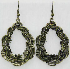 """Feather oval dangle drop earrings antiqued gold lightweight metal 1.75"""" long"""