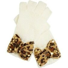 BETSEY JOHNSON Leopard BOW Fingerless GLOVES Cream ONE SIZE Free Shipping