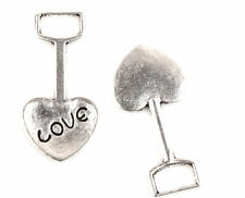 Lots Gifts 10 Pcs Tibetan Silver shovel Heart LOVE Art Charms Pendants TA750