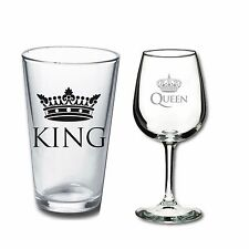 His & Hers - Mr & Mrs Wine Glasses - Engagement or Wedding Gift - King and Queen