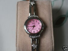 Q&Q by Citizen Silver Tone Lady Watch w/Diamond Bezel & Pink Dial