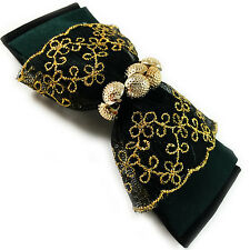 USA Barrette Hair Pin HANDMADE TAILOR Dark Green Fabric bow knot flower BEAD