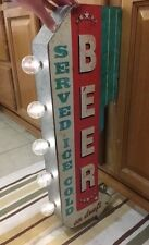 SERVED ICE COLD BEER DOUBLE SIDED LIGHT SIGN MAN CAVE BAR KEG ALE BREWERY DRAFT