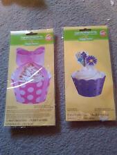 NIP 2 PACKS OF 12 WILTON HAPPY EASTER CUPCAKE WRAPS N' PIX PICKS WITH FLOWERS