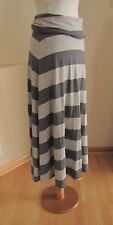 Gap Maternity Maxi Skirt XS Gray Stripe Fold Over Long Boho Modest Jersey Knit