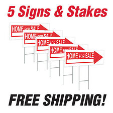 "5 - 10"" x 24"" Home For Sale Directional Signs Corrugated Plastic + FREE Stakes"