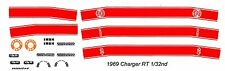 1969 DODGE Charger 500 - R/T - Super Bee RED 1/32nd Slot Car Decals