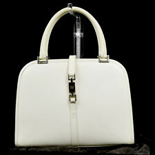 Authentic GUCCI Logos JACKIE Hand Bag Leather White Silver Plated Italy 07M684