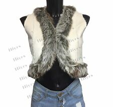 Womens Gillet Fur Vest Waistcoat Jacket Sleeveless fitted faux Suede size 10-14