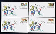 #2027-30 1982 Christmas FDCs Set of 4 Kover Kids Hand Colored Cachets UA FD1944