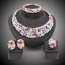 Women Party Bridal Dinner Dress Rhinestone Crystal African Beads Jewelry Set