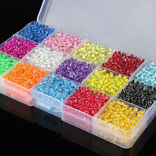 15 Color 4500 PCS 4mm Glass Seed Spacer Round Beads Jewelry Making DIY & Box Set