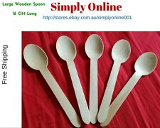 25 LARGE SPOON DISPOSABLE PARTY WOODEN CUTLERY PACK WOODEN ECO PICNIC CATERING