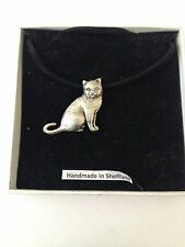 British Short Hair Cat PP-C03  Pewter Pendant on a  BLACK CORD  Necklace