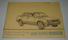 Betriebsanleitung + Wartung Alfa Romeo Giulietta Stand September 1982!