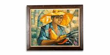 South American Cubism Oil Painting, Signed Ruma, Peasant with Chicken, 46 x 60cm