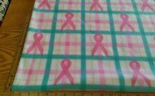 """PINK BREAST CANCER RIBBON PLAID POLAR FLEECE FABRIC 1 YARD X 48"""" W"""