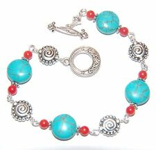 Copper Mottled TURQUOISE with RED CORAL & Silver Linked Bracelet ~ toggle clasp