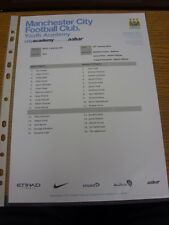 10/01/2014 Manchester City U21 V Wolverhampton Wanderers U21 (Feuillet Unique). Th