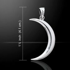CRESCENT MOON .925 Sterling Silver Pendant Wiccan Pagan Magick Waxing Moon
