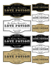 Halloween Love potion label stickers apothecary  set of 10 scrapbooking crafts