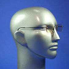 Computer Reading Glasses Frameless Lightweight Aspheric Lens Black Trim +2.00