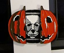 Halloween Michael Myers Enamel Pin Split Pumpkin Horror Movie Collectible