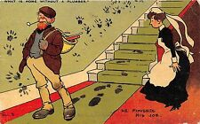 POSTCARD  COMIC   TOM  BROWNE    What is home  without  a Plumber