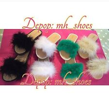 Fluffy Feather Beach Sliders Slides £23 Inc Postage