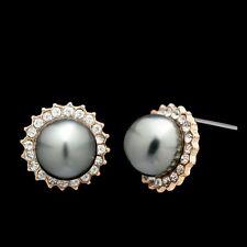Elegant Gift for Women Girls Gold Plated Gray Pearl Flower Stud Earring