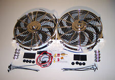 Two 14 inch chrome Radiator cooling fans USA Super HD relay kit Rod, race, new