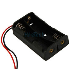 """10 Pcs New 2 AA 2A Battery 3V Clip Holder Box Case with 8"""" Leads Black"""