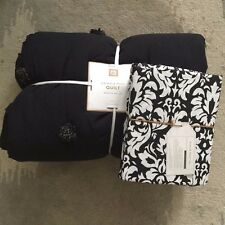 Pottery Barn Teen Crinkle Puff Quilt Damask Floral Sheet Set XL Twin Black white