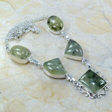 "Green Prehnite Crystal 100% Pure 925 Sterling Silver Necklace 18.5"" #A52331"