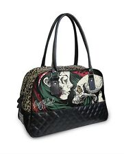 GOTHIC METAL SUGA SKULL DIAMOND LEOPARD PRINT PADDED LEATHER BOWLING HANDBAG