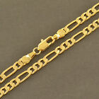 4mm Figaro chain 14k Yellow Gold Filled mens link necklace long boys 24 inches