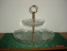 "2-TIER MIKASA ""CRYSTAL"" 12 1/2"" TIDBIT SERVER/GOLD DIVIDER/CLEAR/FREE SHIP!"