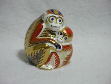 Royal Crown Derby Imari Paperweight - Mother Monkey and Baby Gold Button Stopper