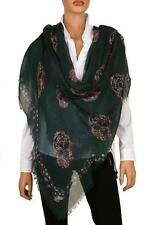 NEW ALEXANDER MCQUEEN FLOWER MULTI SKULL MODAL CASHMERE SHAWL WRAP SCARF STOLE
