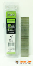 """Grex 18 Gauge 1"""" inch Long Stainless Steel Brad Nails - GBS18-25 Qty: 1000"""