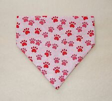 PINK PAW PRINTS ON PINK DOG SCARF--SMALL