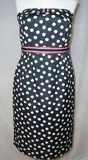 Maeve Anthropologie Polka Peppered Dots Dress Sz 4 6 Black White Red Bow Trim