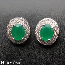 Elegant Green Women Genuine Emerald 925 Sterling Silver Gemstone Earrings New