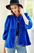 Urban Outfitters Little White Lies Blue Fur Cropped Jacket Med $249