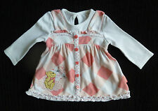 Baby clothes GIRL 0-3m Disney Pooh Bear/lily pad peach check long sleeve dress